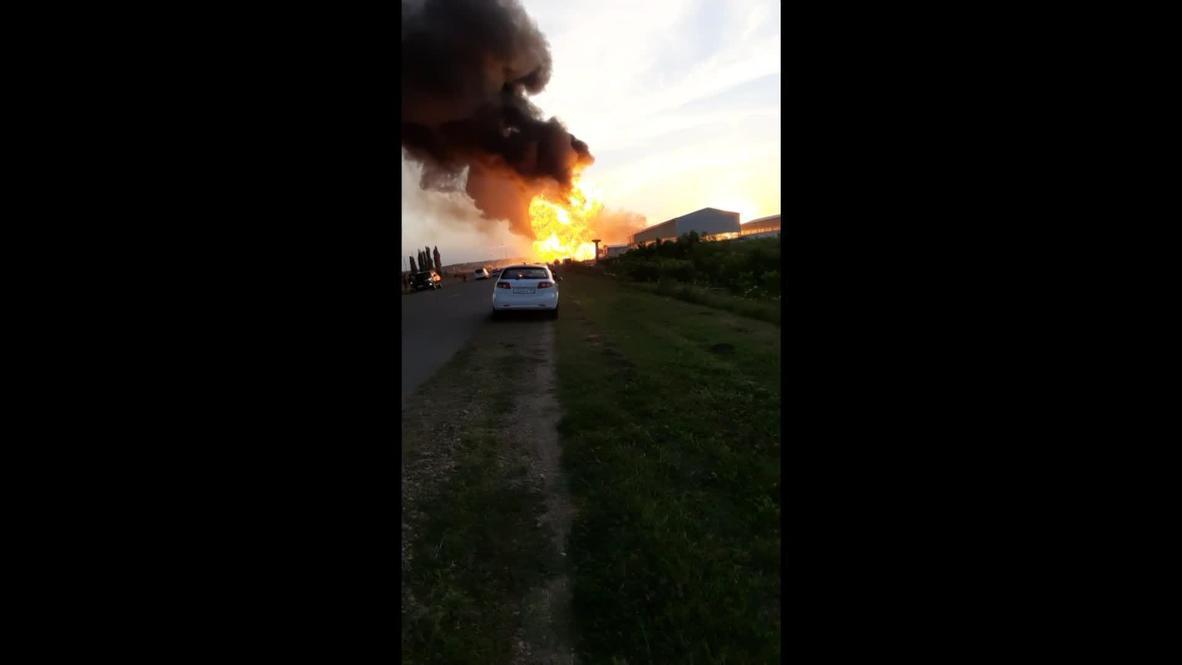Россия: Момент взрыва на АЗС в Краснодарском крае попал на видео