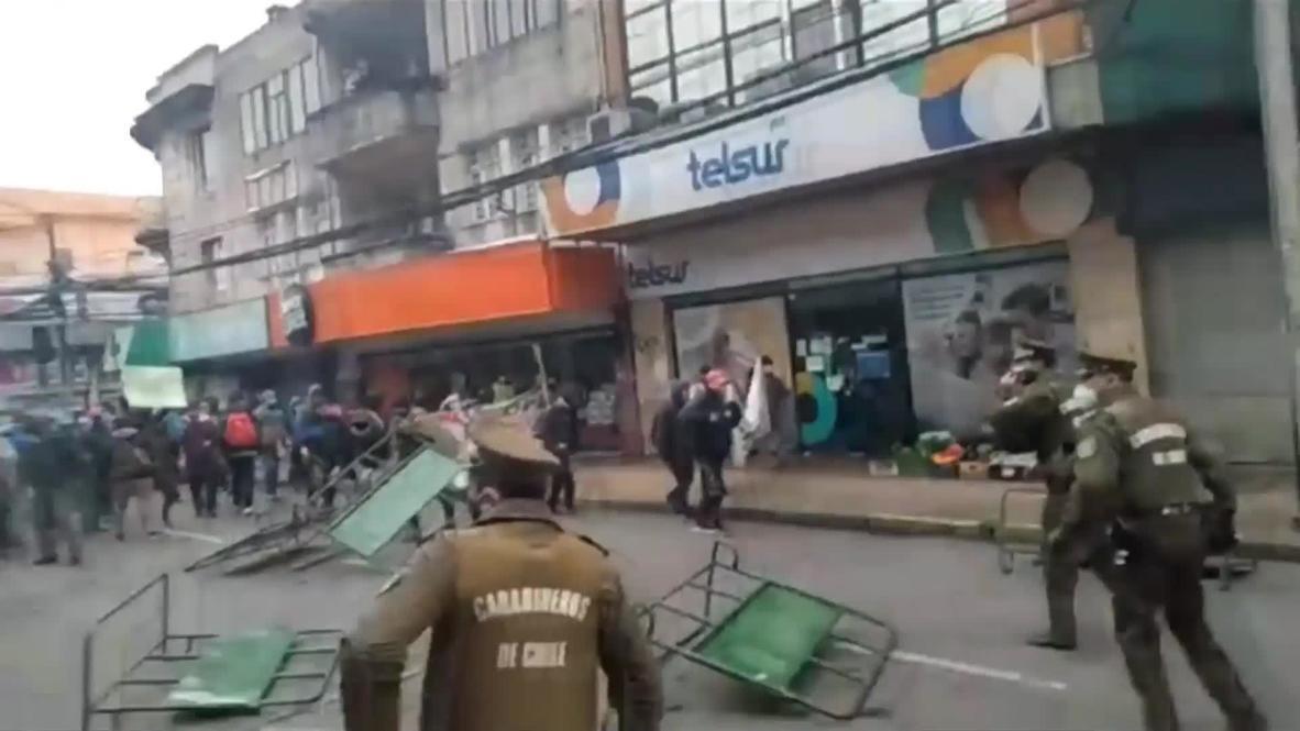 Chile: Manifestantes mapuche se enfrentan a la policía ante la llegada del ministro del Interior a Temuco