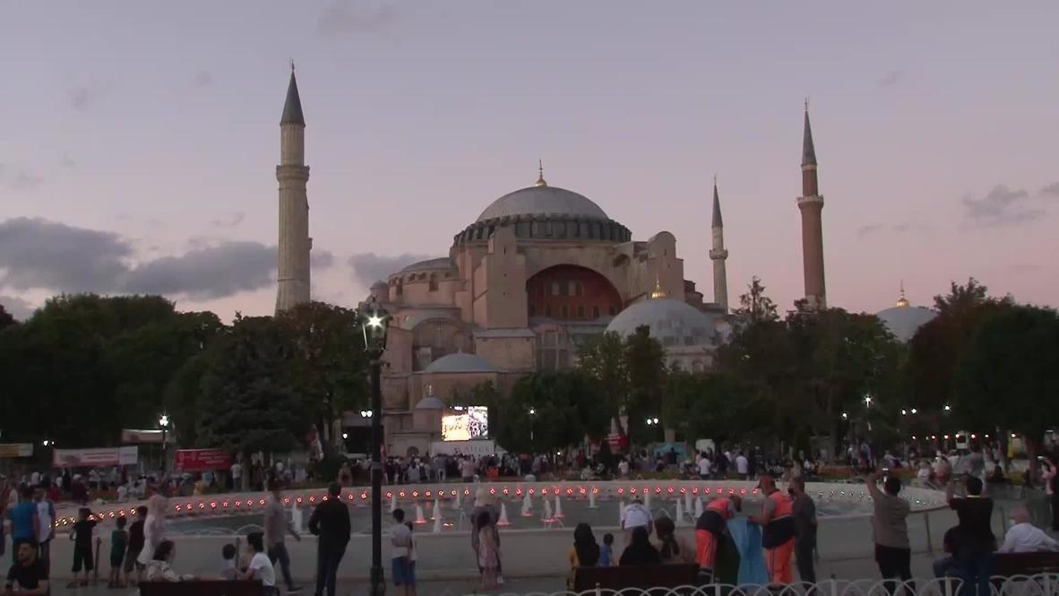 Turkey: Locals react to unfurling of Taliban flag inside Hagia Sophia