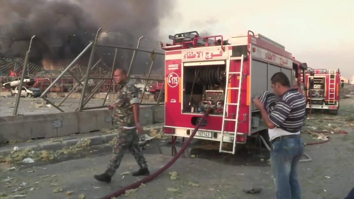 لبنان: اندفاع هيئات الطوارئ نحو موقع الانفجار في ميناء بيروت
