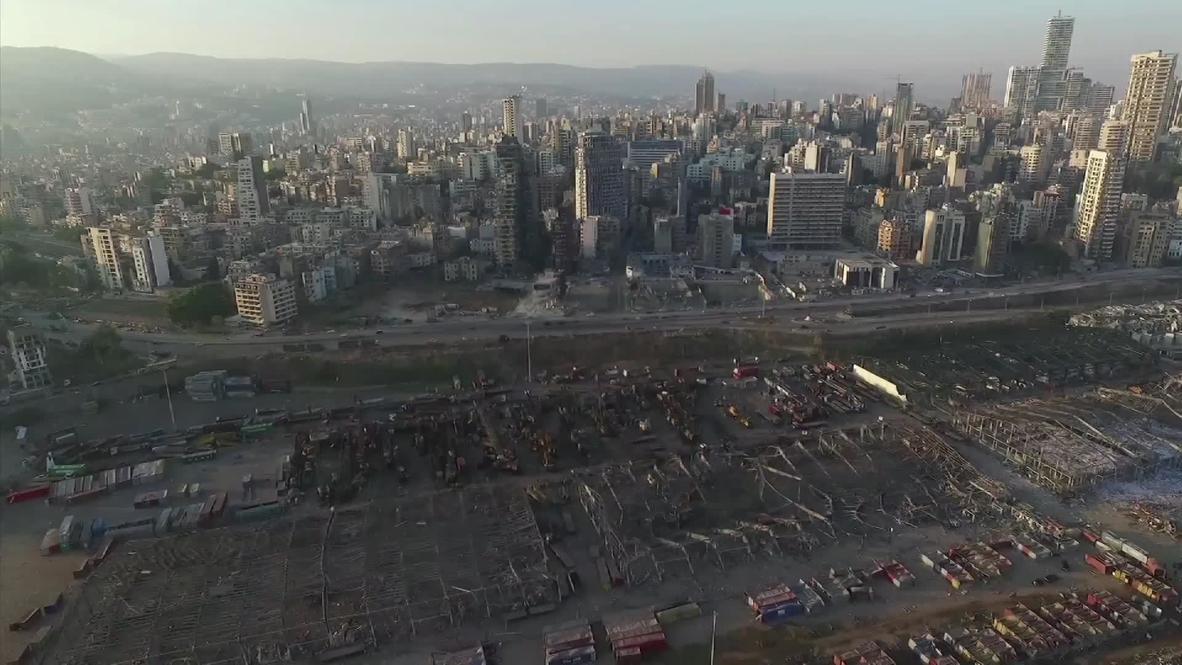 لبنان: لقطات من طائرة مسيرة تكشف حجم الدمار في بيروت عقب انفجار الميناء