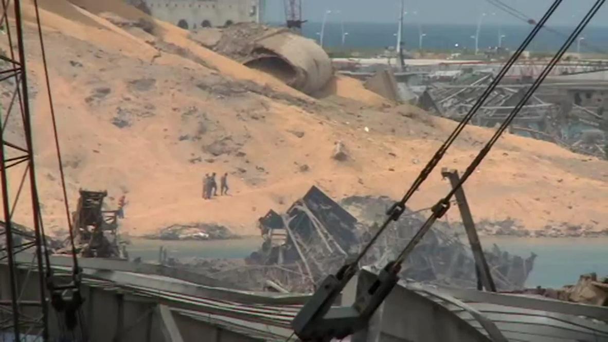 Líbano: Escombros y estructuras derruidas en el epicentro de las explosiones en el puerto de Beirut