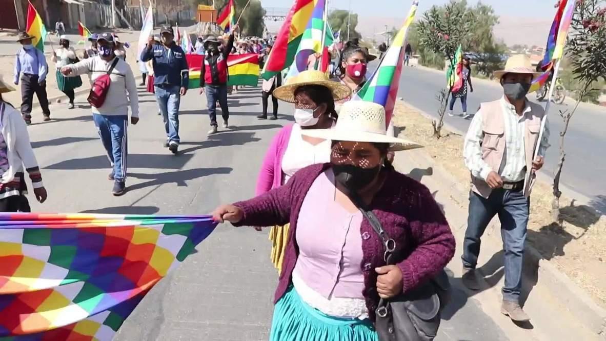 Bolivia: Manifestantes marchan contra el aplazamiento de las elecciones presidenciales y la crisis de la covid-19