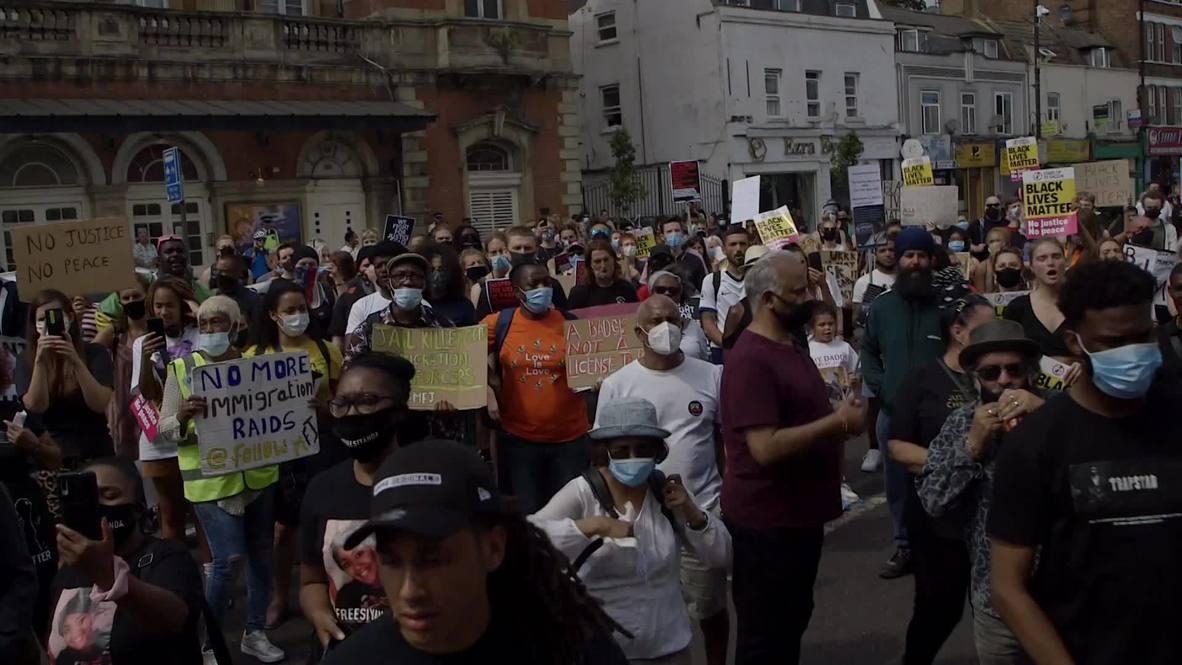 UK: BLM rally outside Tottenham police station marks anniv. of Mark Duggan's death