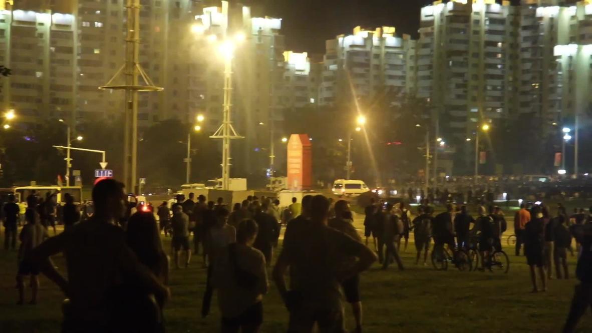 Белоруссия: Кадры ночных акций протеста в Минске после окончания голосования на выборах президента