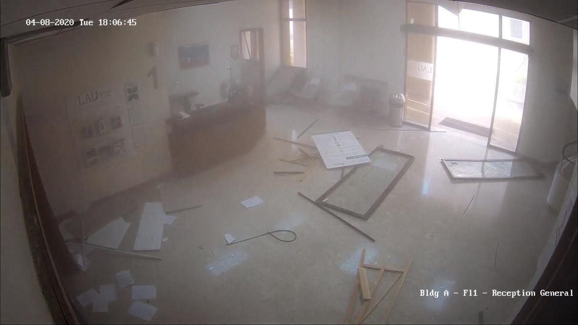 Líbano: Imágenes de CCTV muestran las puertas de un hospital reventando tras las explosiones de Beirut
