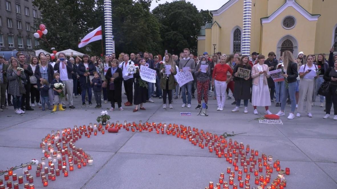 Эстония: В Таллине прошла акция солидарности с протестующими в Белоруссии