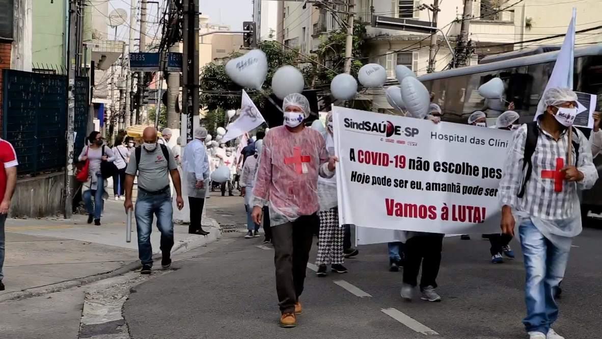 Brasil: Trabajadores de la salud de Sao Paulo protestan por muertes de colegas contagiados de covid-19