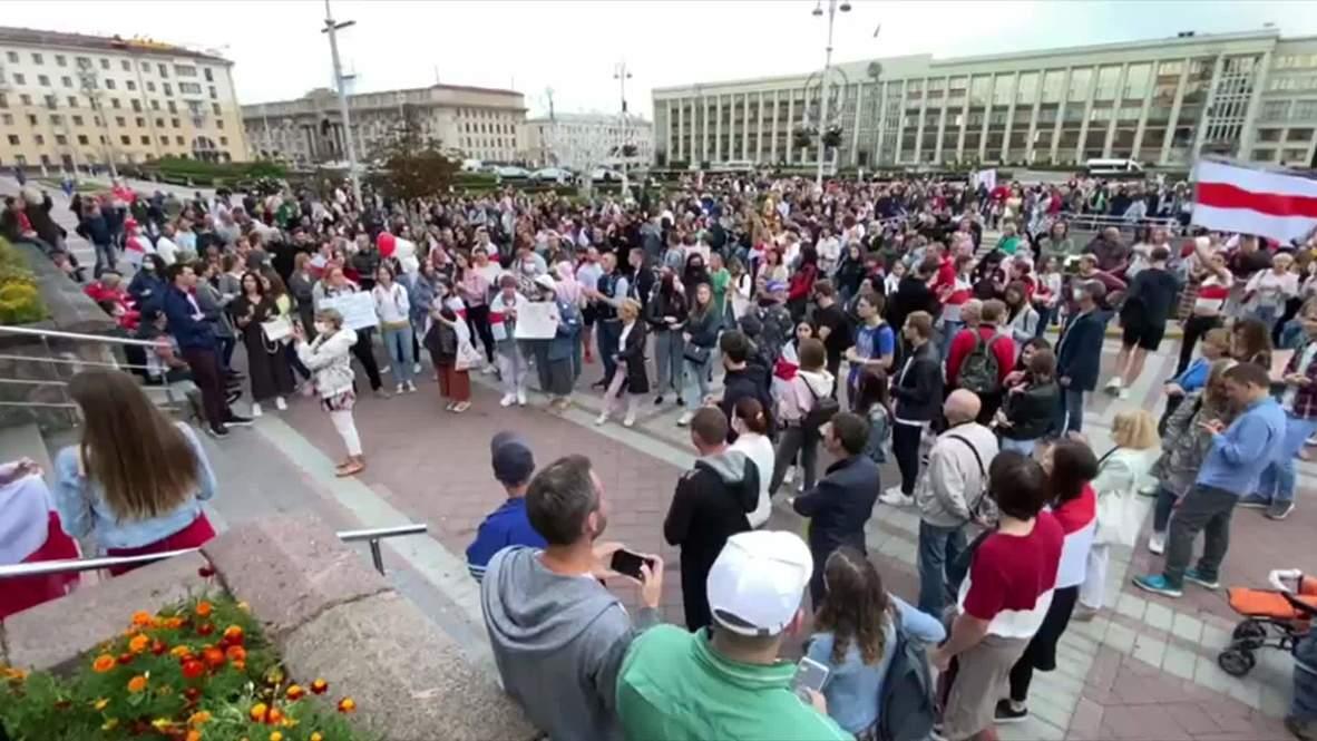 Bielorrusia: Manifestantes protestan contra Lukashenko en la plaza de la Independencia de Minsk
