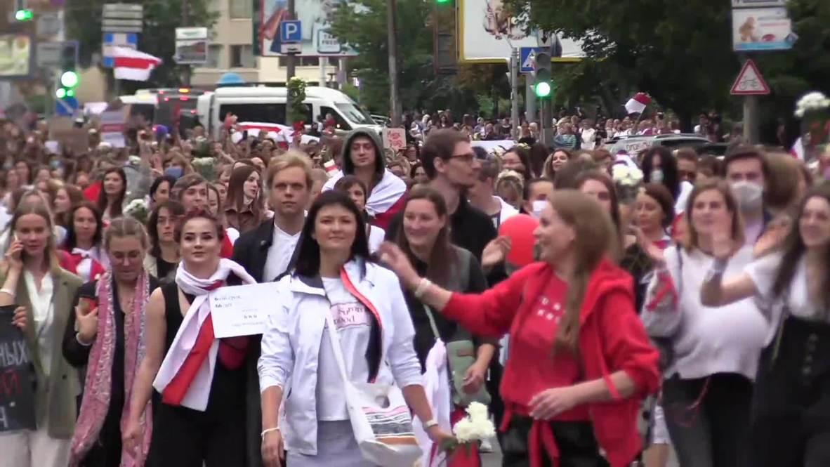Белоруссия: Тысячи женщин приняли участие в акции протеста в Минске