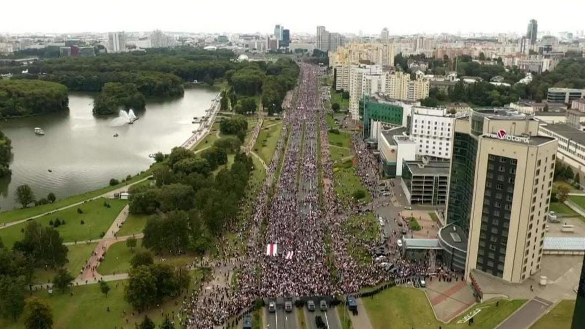 Bielorrusia: Imágenes aéreas filman multitudinaria manifestación en Minsk