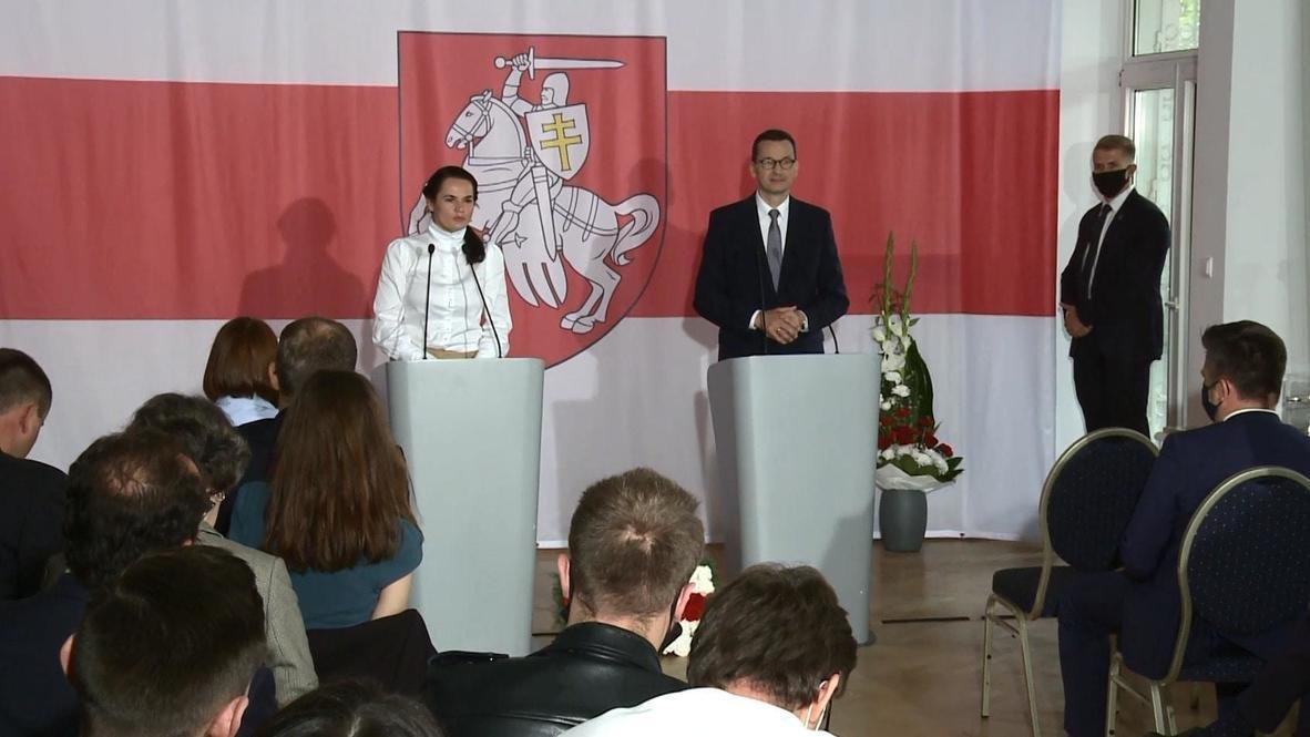 Polonia: Primer ministro polaco y Tikhanovskaya asisten a la apertura del nuevo centro bielorruso