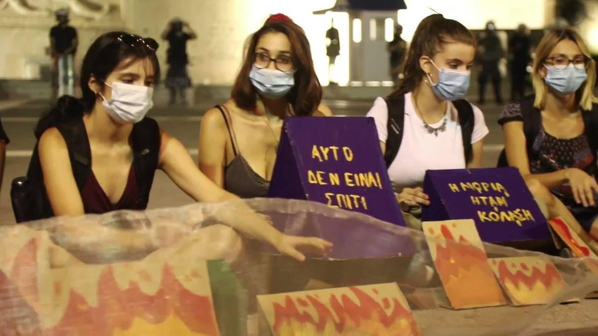Grecia: Activistas antifascistas realizan una marcha de solidaridad con los refugiados de Moria