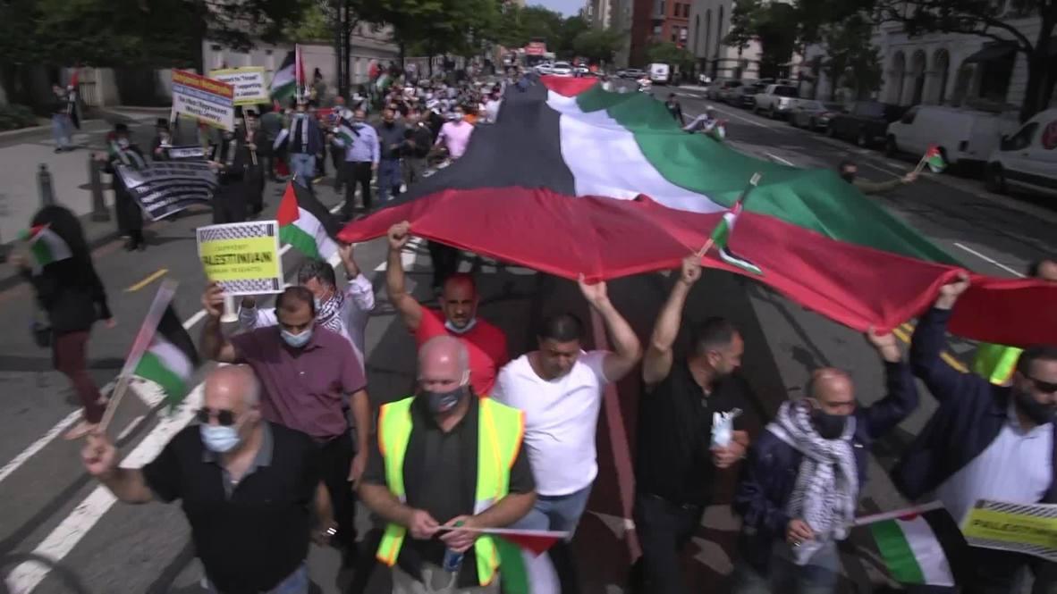 EE.UU.: Manifestantes marchan en Washington en protesta al acuerdo de paz entre EAU, Baréin e Israel