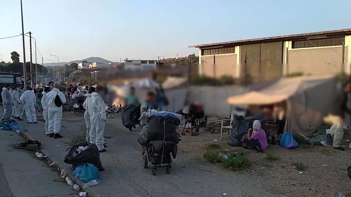 Grecia: Policía de Lesbos insta a los migrantes sin hogar a trasladarse al campamento de reemplazo