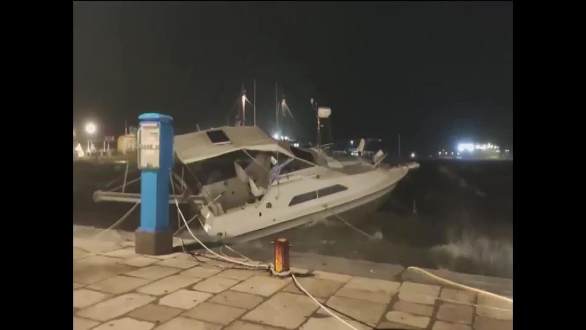 Grecia: Fuertes lluvias y viento azotan la isla de Zante mientras se acerca a la costa la tormenta Janus