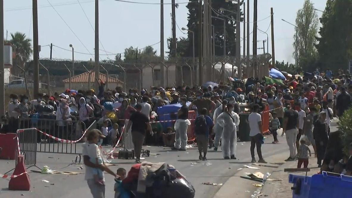 Greece: Hundreds of migrants arrive at new camp in Kara Tepe
