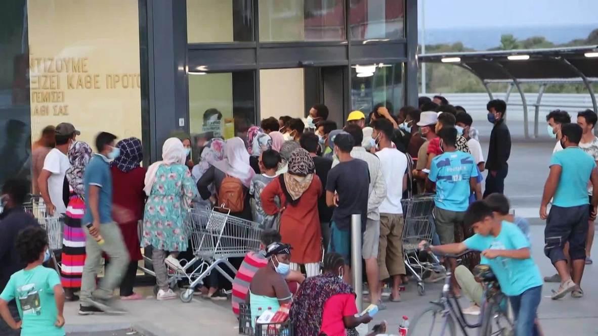 Grecia: Migrantes hacen fila durante horas en los supermercados de Lesbos