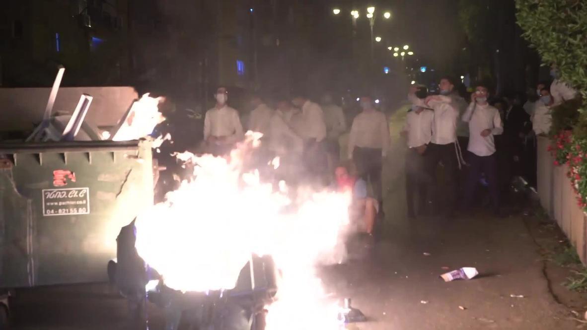 Israel: Ultraortodoxos protestan contra las restricciones por el covid-19 en Bnei Brak