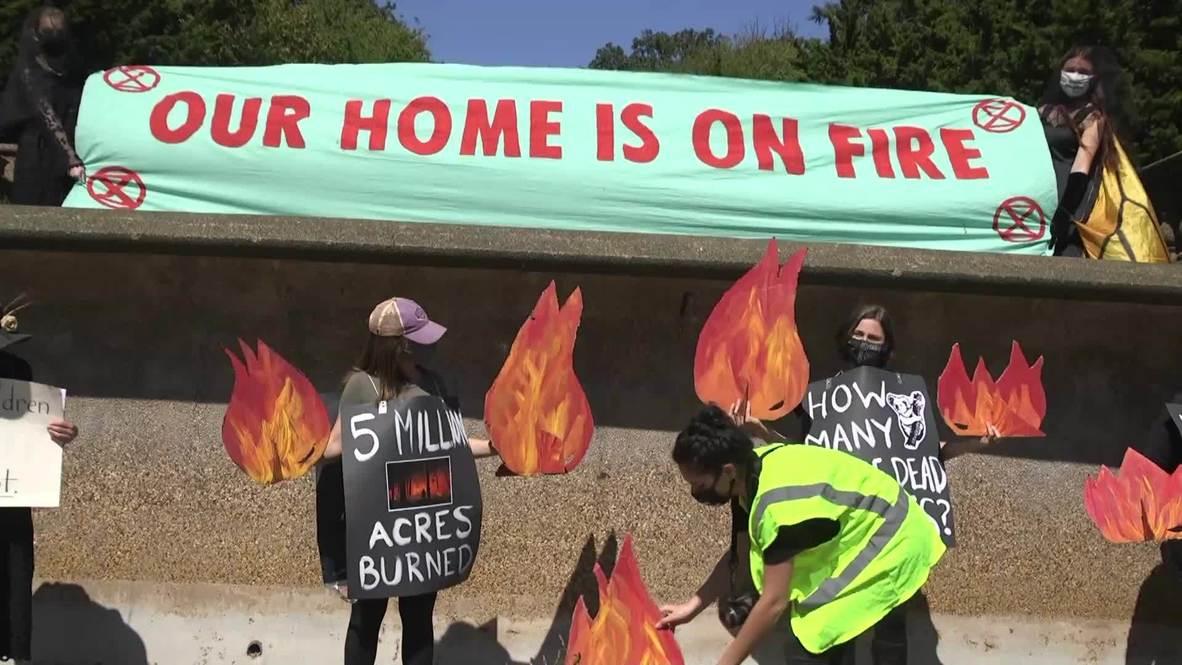 """الولايات المتحدة الأمريكية: حركة """"التمرد ضد الانقراض"""" يتظاهرون لإحياء لذكرى ضحايا حرائق ولايات الساحل الغربي"""