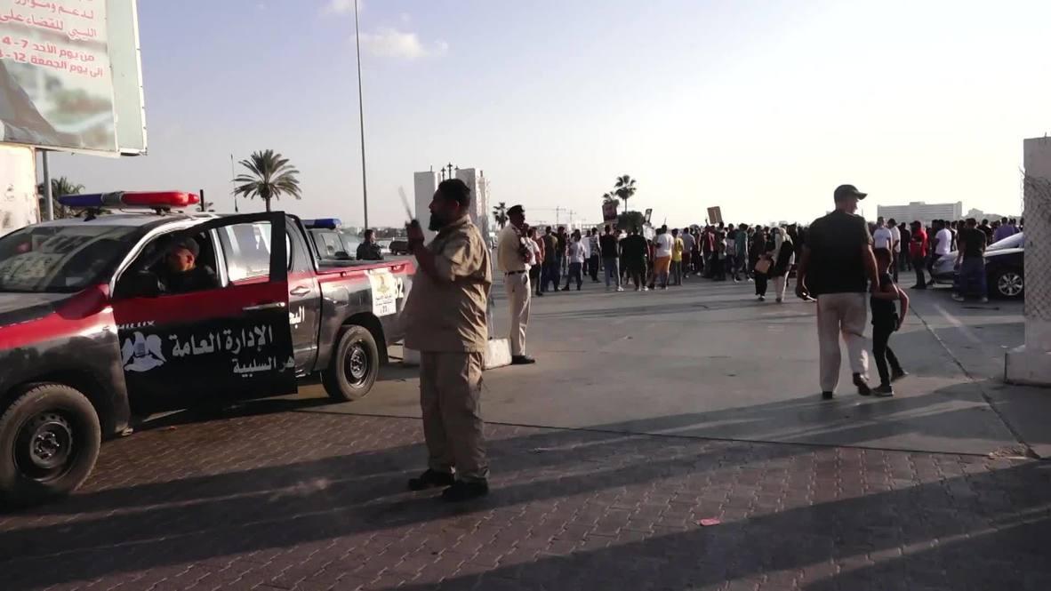 ليبيا: متظاهرون يتحدون الإجراءات الأمنية المشددة في بنغازي احتجاجا على الفساد