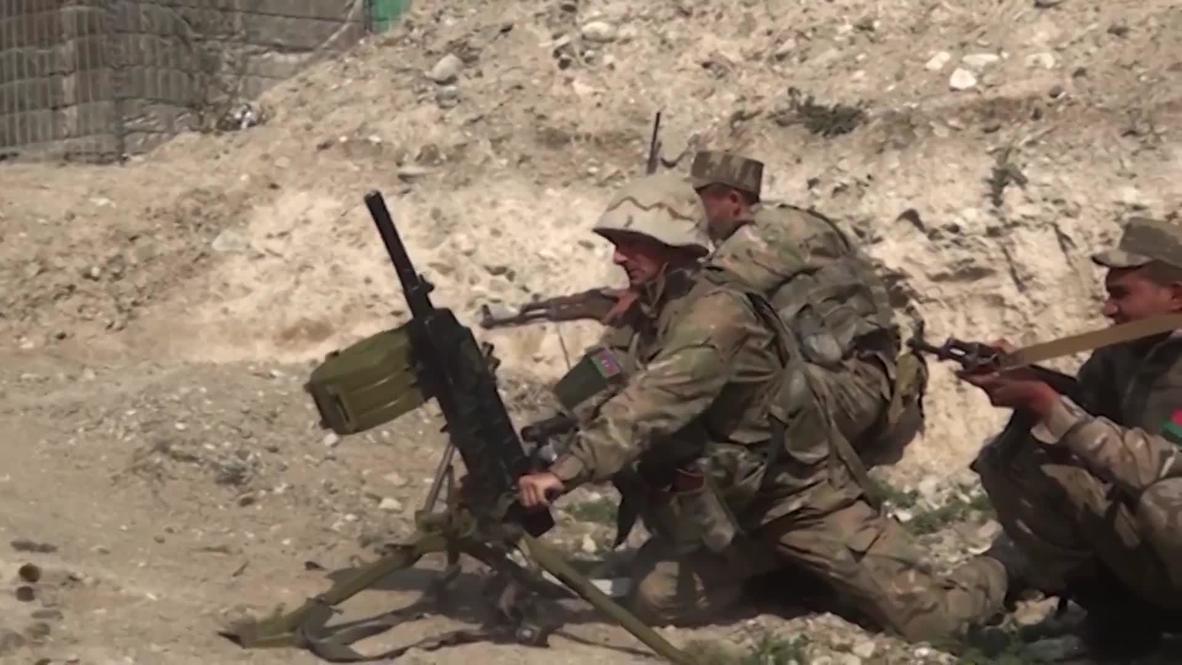 Нагорный Карабах: Минобороны Азербайджана опубликовало видео предполагаемых боевых действий на линии соприкосновения в НКР