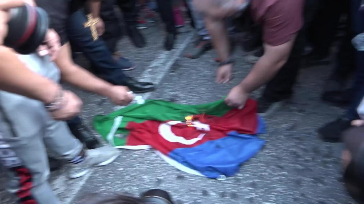 Greece: Azerbaijani flag burnt at pro-Armenia protest in Athens
