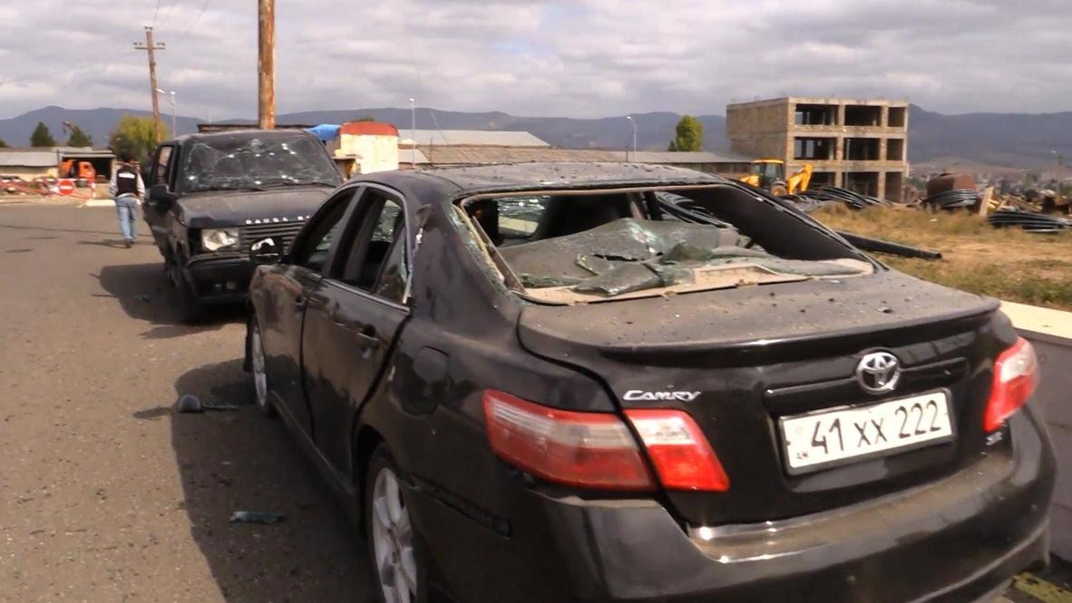 Nagorno-Karabakh: Buildings, cars damaged in Stepanakert after shelling