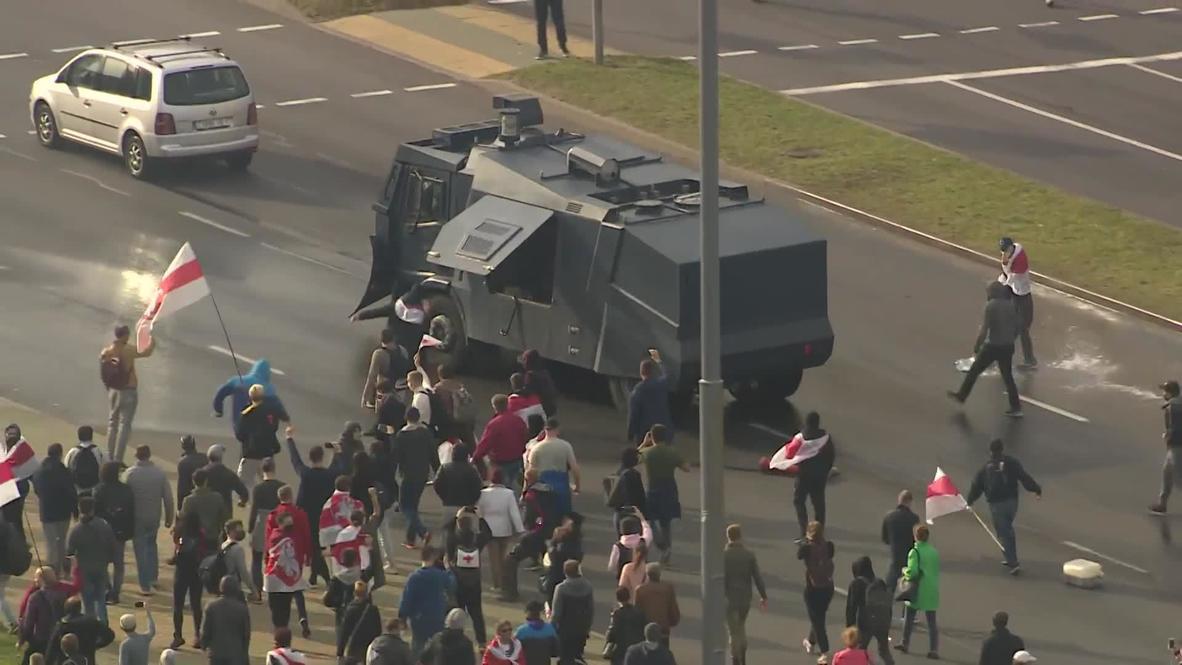 Bielorrusia: Policía usa cañones de agua para dispersar multitudinaria manifestación en Minsk