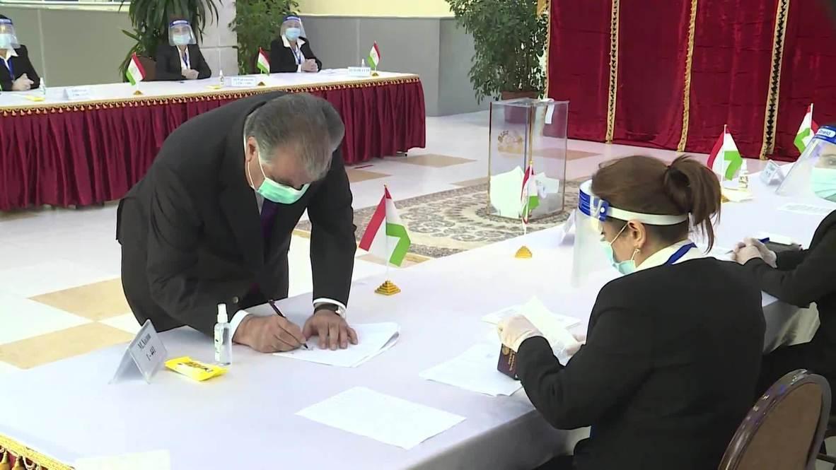 Tajikistan: Long-time leader Emomali Rahmon casts ballot in presidential election