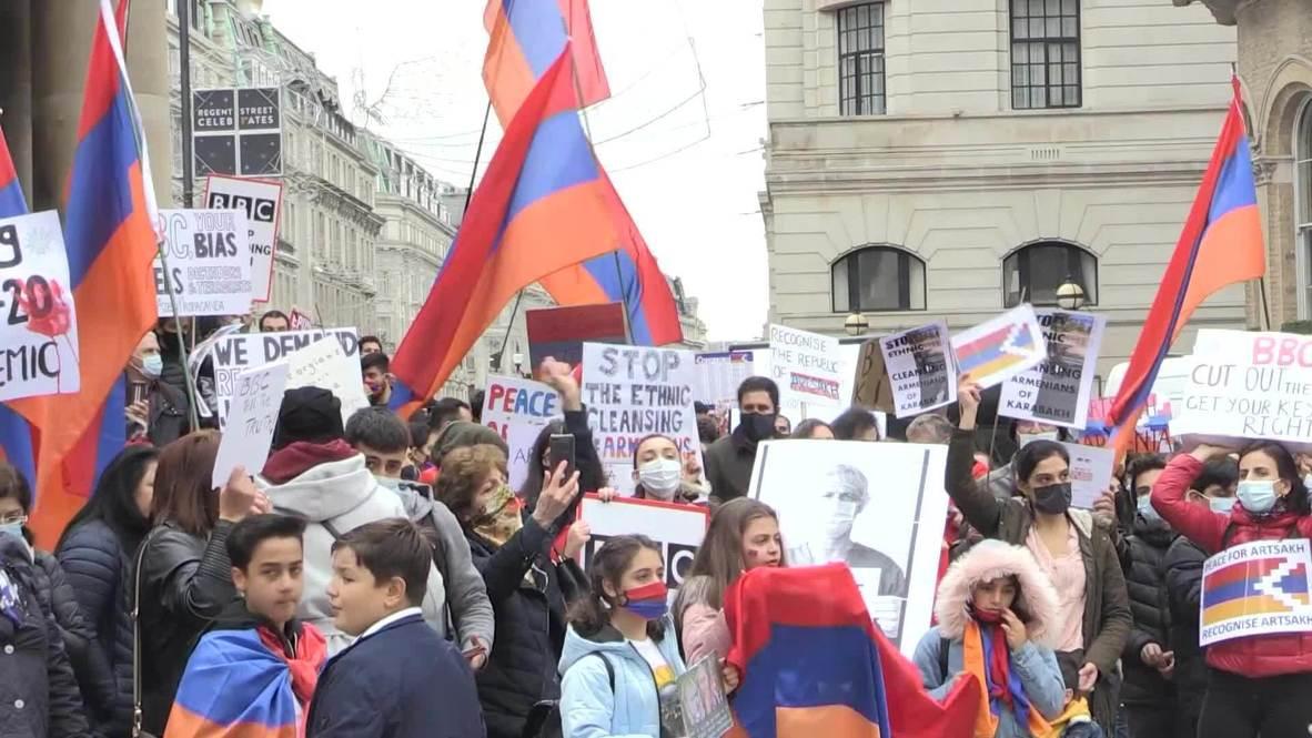 المملكة المتحدة: عشرات الأرمن يتظاهرون احتجاجاً على تحيز هيئة الإذاعة البريطانية لصالح أذربيجان