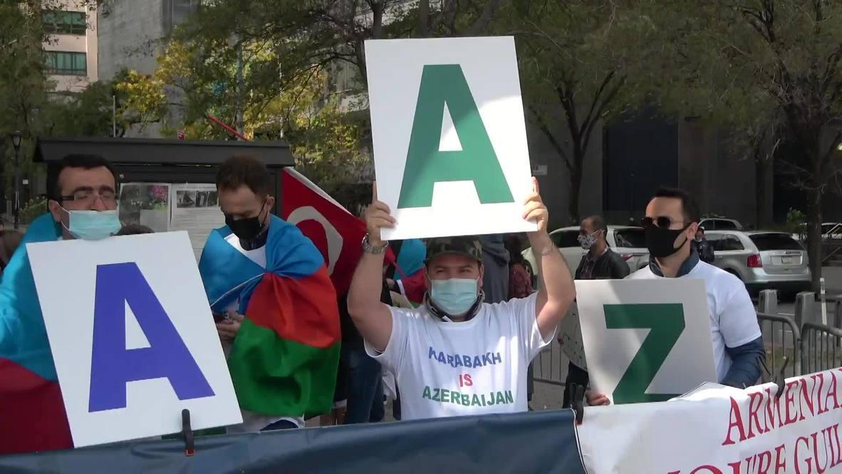 الولايات المتحدة الأمريكية: متظاهرون مؤيدون لأذربيجان يحتجون أمام مقر الأمم المتحدة في نيويورك