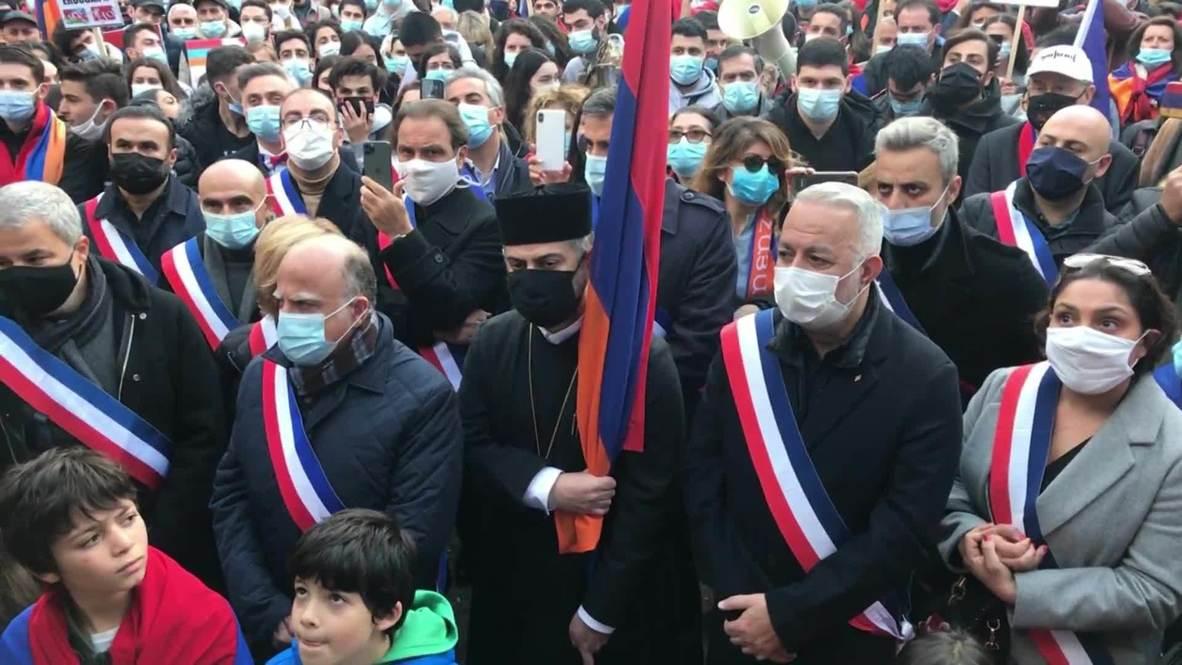 فرنسا: المتظاهرون المؤيدون لأرمينيا يحتشدون في باريس في ظل نزاع قره باغ