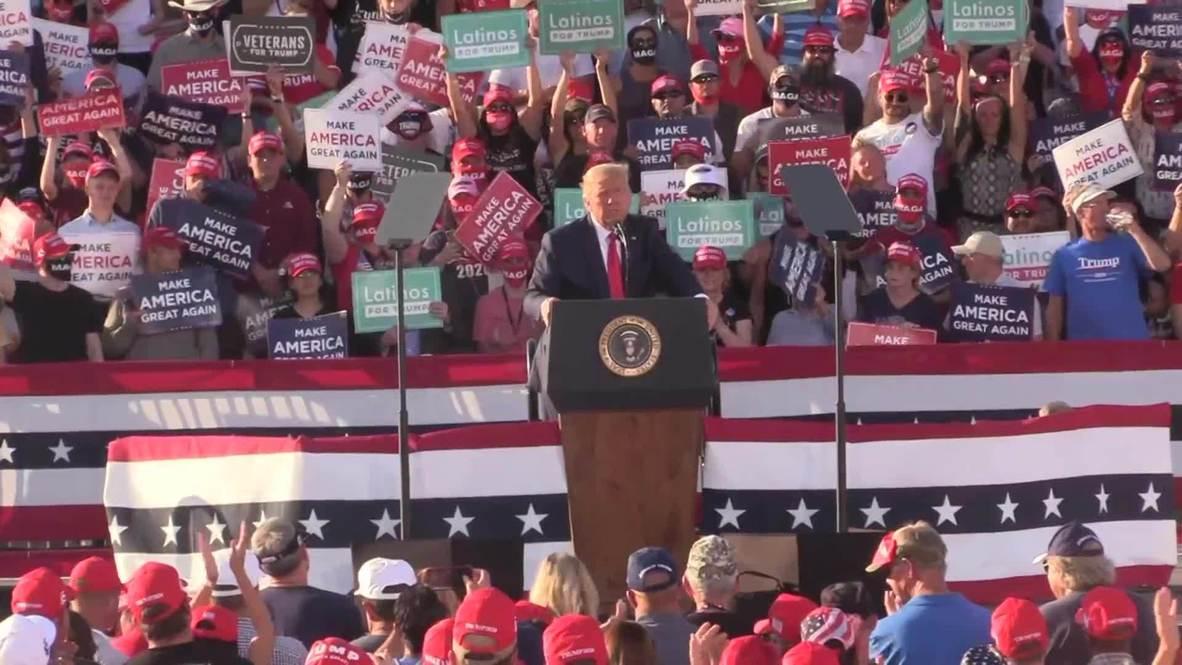 EE.UU.: 'El confinamiento de Biden aplastará a América, mi plan aplastará el virus' - Trump en mitin en Arizona