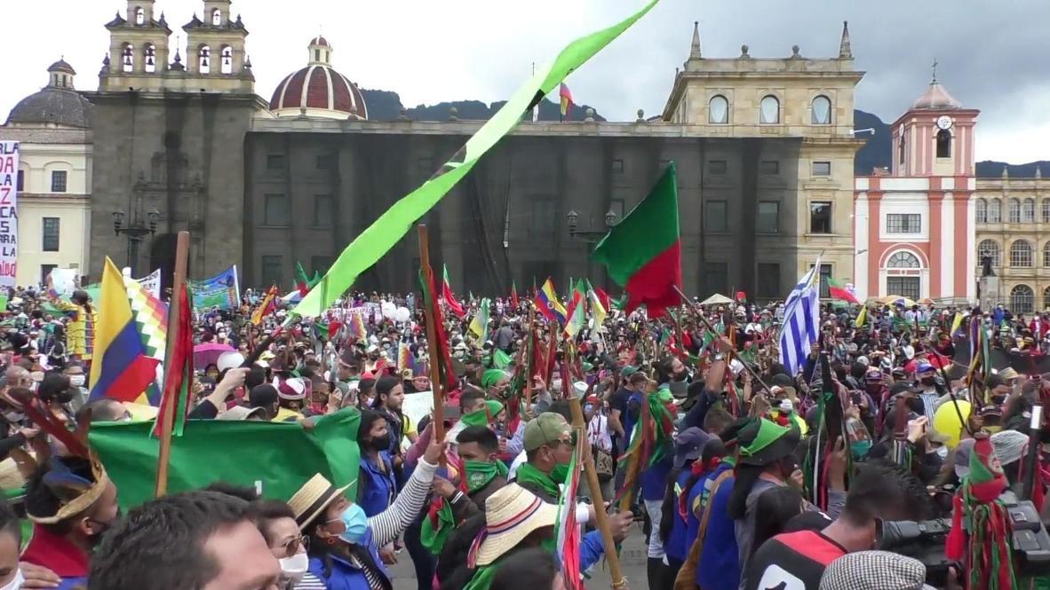 Colombia: Comunidad indígena y sindicatos lideran paro nacional en Bogotá