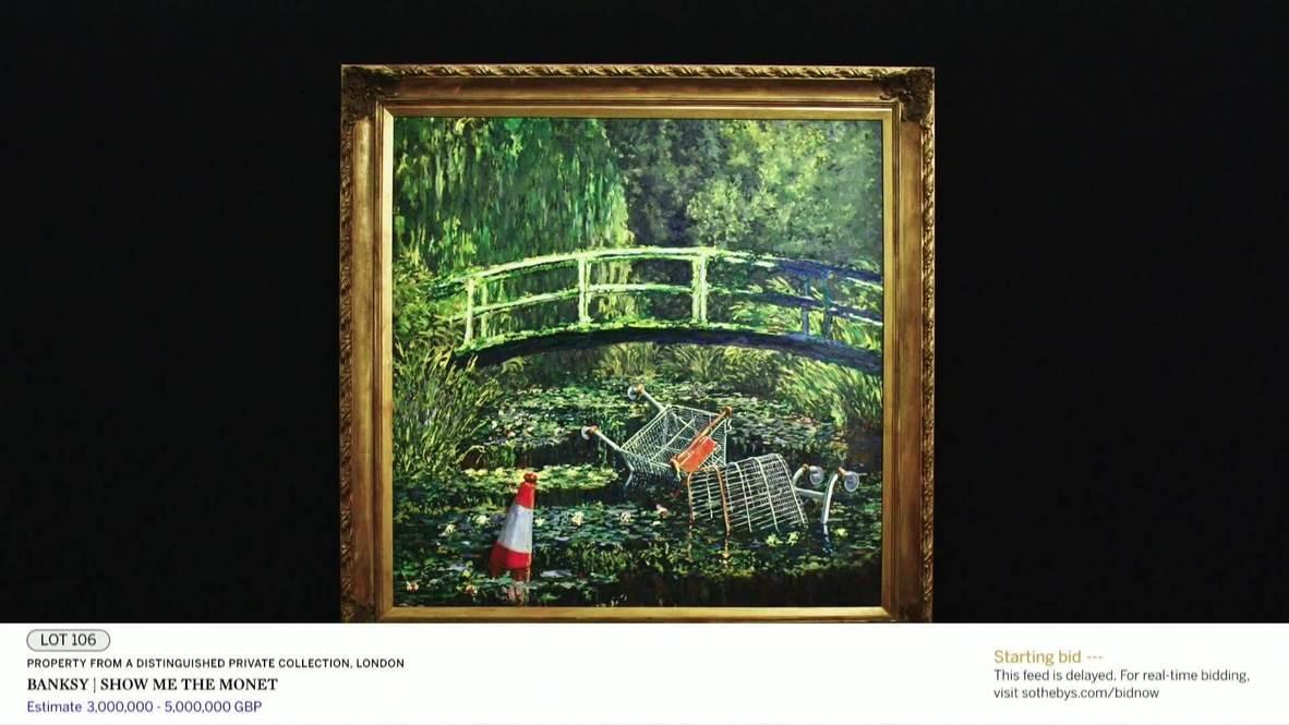 """المملكة المتحدة: لوحة """"أرني لوحة مونيه"""" لفنان الشوارع بانكسي تحصد نحو 10 ملايين دولار لتصبح ثاني أغلى عمل فني له"""