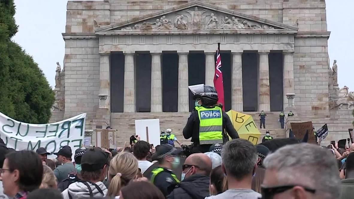 Australia: Detienen a varios manifestantes en una protesta contra las restricciones por coronavirus en Melbourne