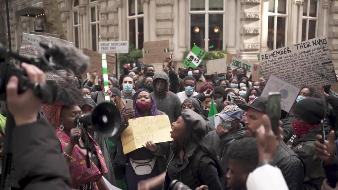 المملكة المتحدة: تظاهرة مناهضة للسارس أمام المفوضية العليا النيجيرية في لندن