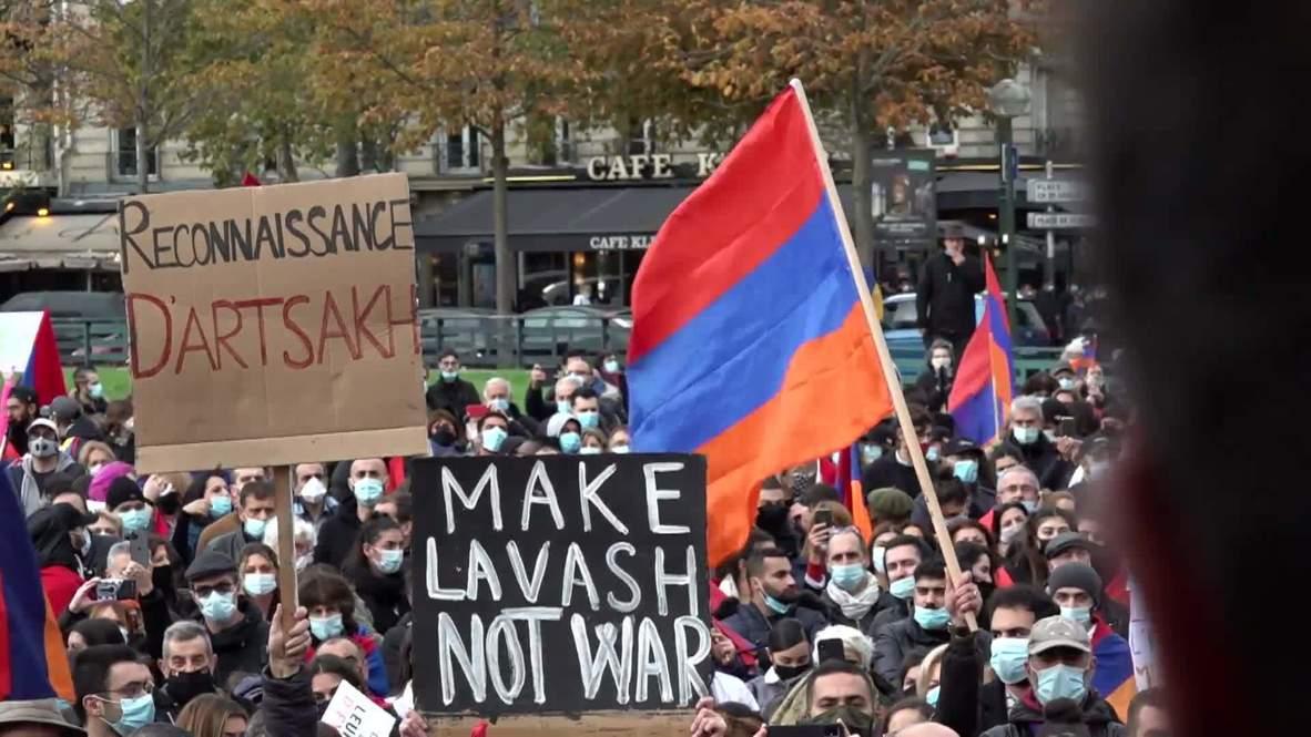 France: Pro-Armenia rally held in Paris amid Nagorno-Karabakh conflict