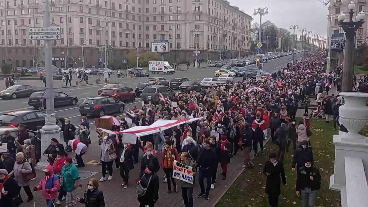 Белоруссия: Жители Минска вышли на протестный марш в рамках общенациональной забастовки