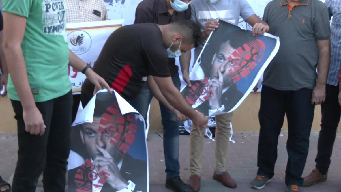 دولة فلسطين: متظاهرون في غزة يحرقون صورة ماكرون احتجاجا على مواقفه تجاه الإسلام