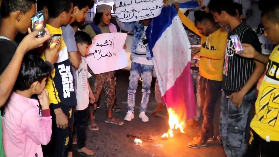 اليمن: متظاهرون في عدن يضرمون النار بالعلم الفرنسي عقب تصريحات ماكرون عن الإسلام
