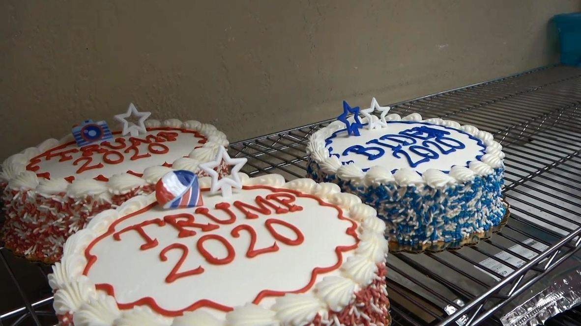 USA: Pennsylvania bakery drums up business with Trump vs Biden cookies battle