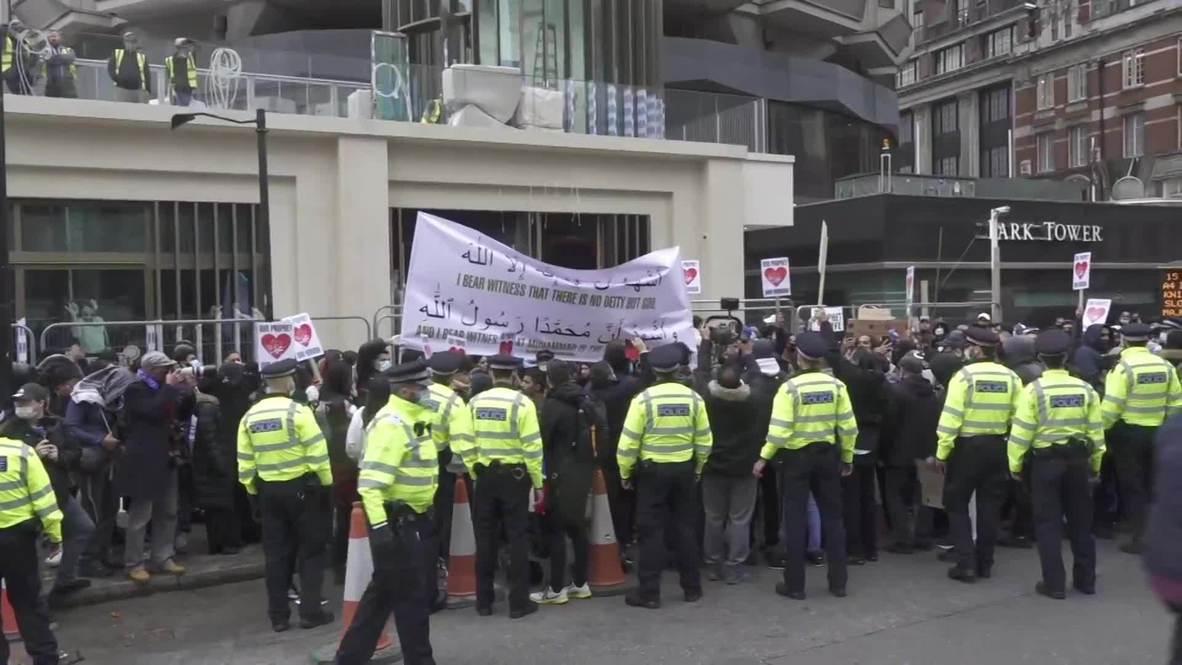 Reino Unido: Varios arrestos durante protesta ante la embajada francesa en Londres