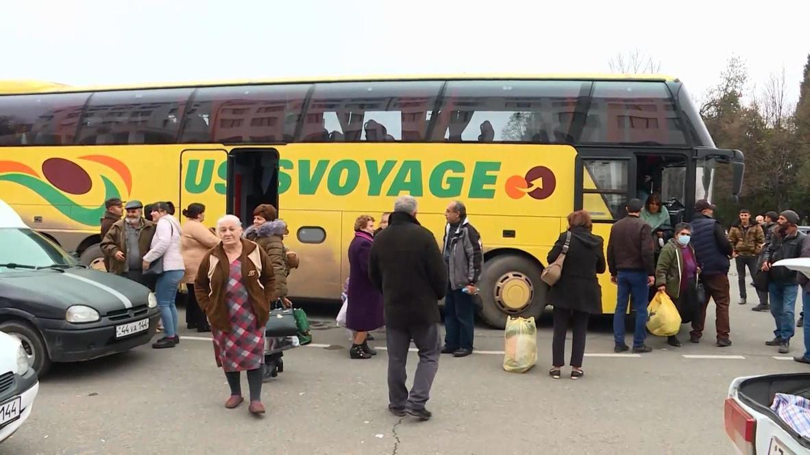 قره باغ: قوات حفظ السلام الروسية ترافق النازحين في رحلة عودتهم من أرمينيا إلى ستيباناكيرت
