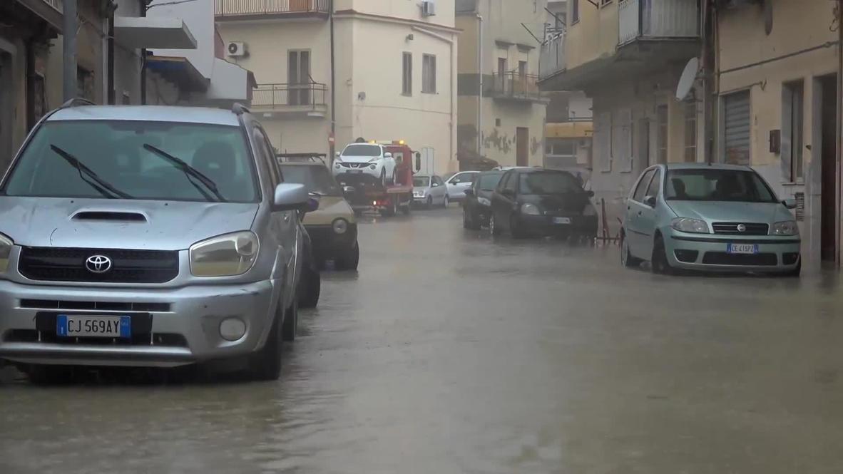 Italy: Heavy rainfall triggers floods in Crotone