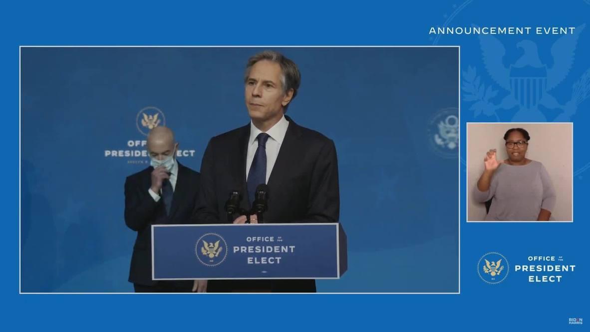 EE.UU.: Biden elige a Antony Blinken para ser el próximo secretario de Estado
