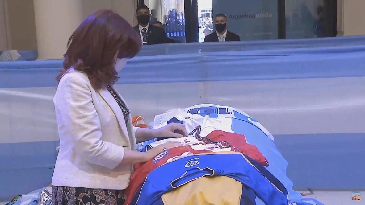 Argentina: Vice President Kirchner pays respects at Maradona wake