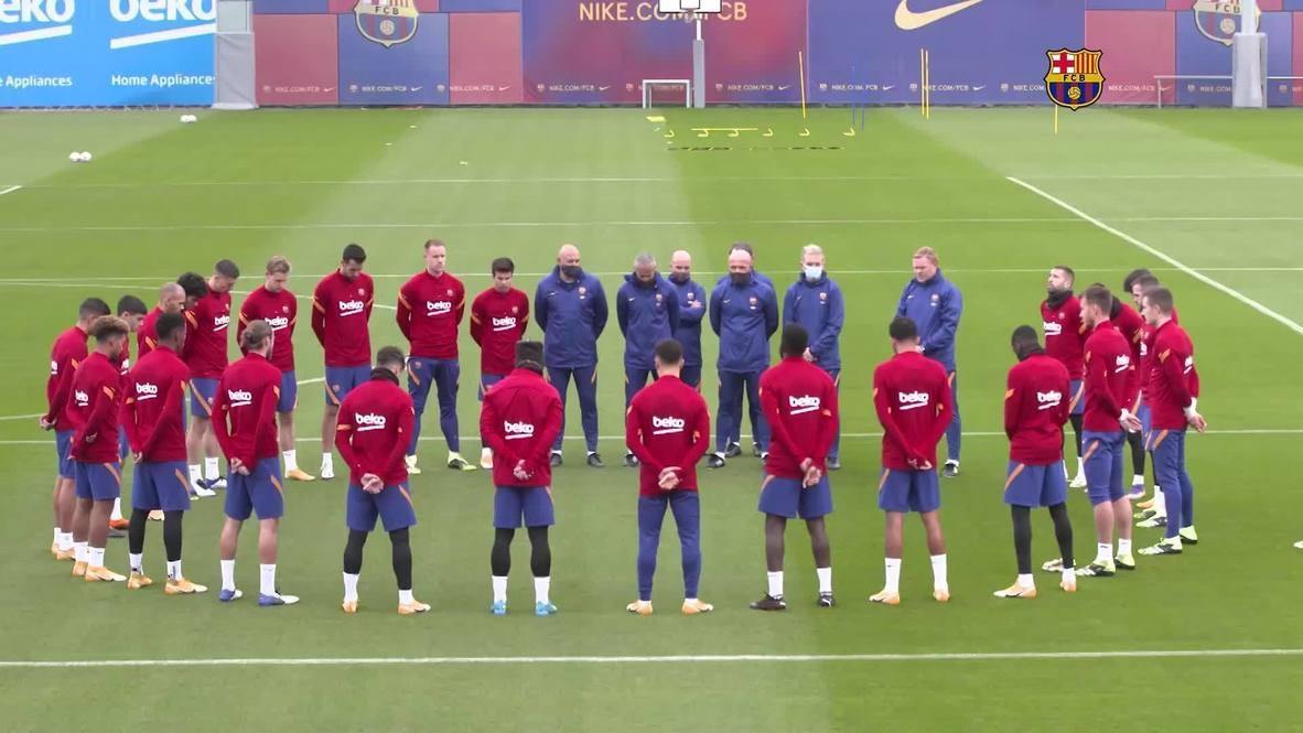 إسبانيا: ميسي ورفاقه في برشلونة يقفون دقيقة صمت خلال التدريبات تكريما لمارادونا