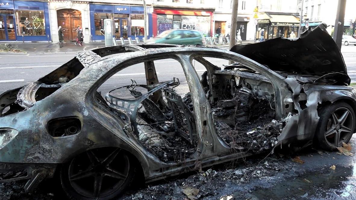 France: Damage and debris on the streets of Paris after violent security bill protests